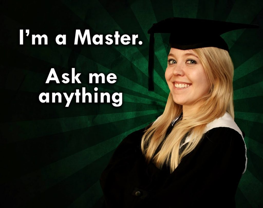 A meme featuring a blonde woman in a university graduation gown with the text: